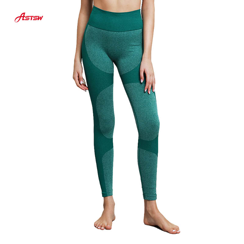 women green seamless yoga leggings