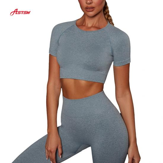 customized seamless short sleeve crop top