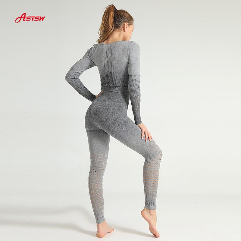 customized seamless hollow out sports suit