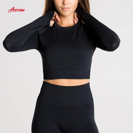 customized seamless long sleeve crop top