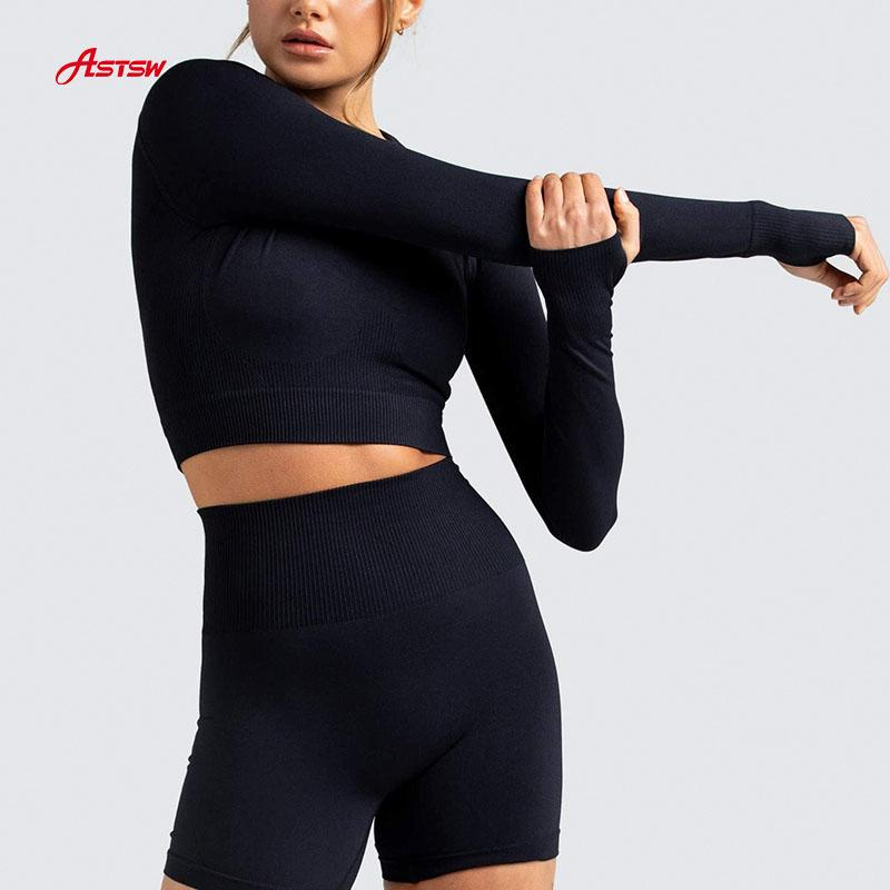 customized seamless long sleeve crop set